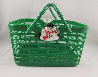 Vintage Collectible Plastic Christmas Basket by Hartin International- Green Basket with Snowman - 1980s Vintage Holiday Basket