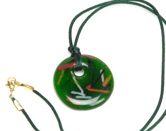 Handcast Round Fused Glass Pendant Necklace N7 Dark Green Translucent w/ Stringers and Green Cord