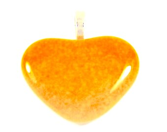 Fused Glass Heart Pendant- Marigold- Gift for Her Pendant H2, jewelry, pendants,hearts