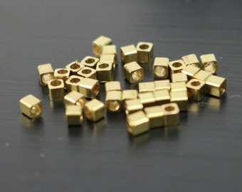 100 Raw Brass Square Cube Beads, End Caps - 2.0x2.0 mm 2mm -  Solid Brass