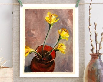Painting original oil - 4 daffodils (oil painting vase red yellow narcissus flowers spring bouquet)