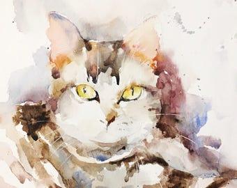 Watercolor original painting - Cat tabby tabby (hair color gentle companion watercolor painting cat feline)