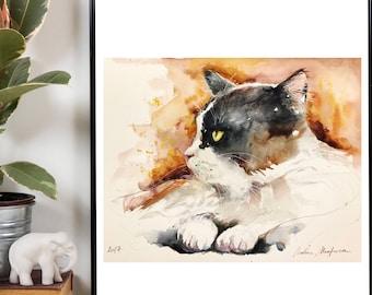 Watercolor original painting - Cat black and white profile (hair color gentle companion watercolor painting cat feline)