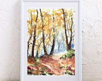 Original watercolor painting of forest landscape in autumn, painting of trees in fall, October colors in undergrowth, forest wall art