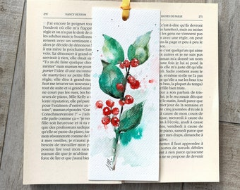 Christmas bookmark, holly branch on bookmark, small Christmas gift, original Christmas watercolor, christmas holly berry painting, artwork