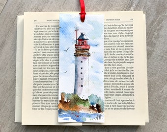 Red and white watercolor lighthouse bookmark, original marine lighthouse painting on bookmark, reader or men gift, beacon or semaphor deco