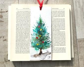 Christmas bookmark, Christmas tree on bookmark, small Christmas present, original watercolor of a Christmas tree
