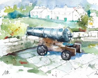 Watercolor of a cannon on the Isle of Scilly, Hugh town The Garrison, original painting British Isles, military travel sketch Great Britain