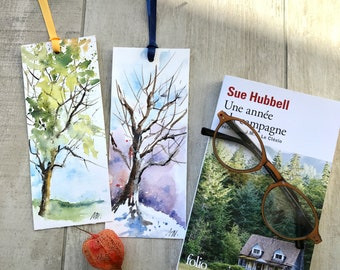 Set of 2 Bookmarks Painted in Original Watercolor, Tree Painting on Bookmarks, Tree Watercolor, Reader Gift, Tree in summer and in winter