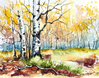 Birch trees in autumn, original watercolor painting, fall birch trees artwork, christmas gift