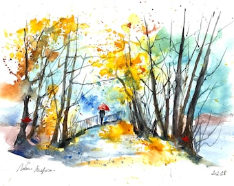 Original watercolor painting of an autumn landscape, a walker in the park in the October rain, painting of a path and a hike in the forest