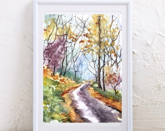 Autumn landscape painting, original watercolor painting of forest path, colorful Indian summer foliage in the forest, hiking in the woods