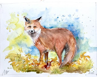 Original watercolor painting of red fox, wild forest animal art, nursery and baby room decor gift, fox in nature sketch drawing