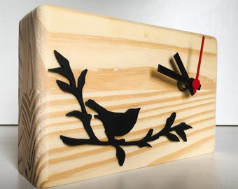 Bird on the branch Wooden Table Clock