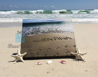 Personalised Name Canvas Print, Personalised Gift, Personalised Name Gift, Personalised Beach Theme Gift, Name Written On Beach Sand