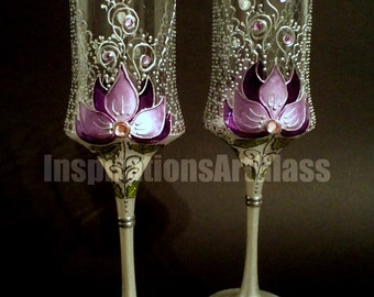 Wedding Glasses, Champagne Toasting Glasses, Champagne Flutes, HAND PAINTED, Purple Wedding, Unique Wine Glasses, Lace Glasses, Set of 2