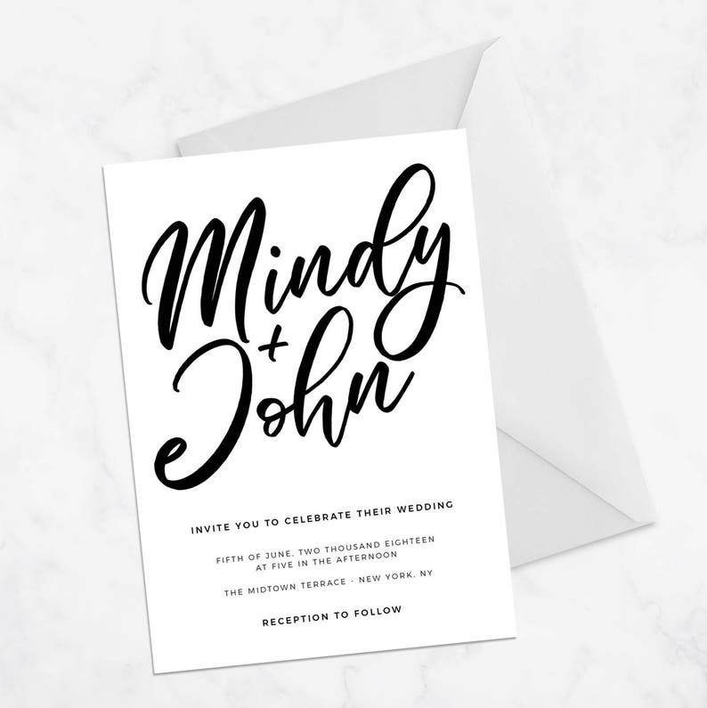 Modern Wedding Invitation Template Classic Wedding | Etsy
