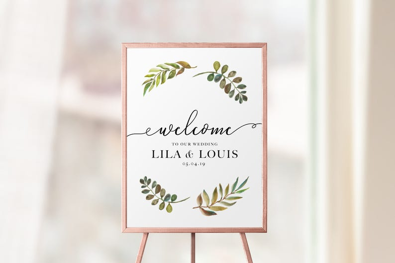 Welcome Wedding Sign Template - Greenery Welcome To Our Wedding Printable -  Custom Wedding Sign - Rustic Reception Sign - Laurel Party Sign