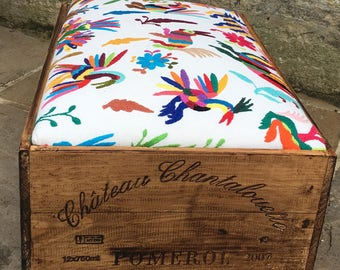 Vintage wine box footstool in mexican otomi fabric
