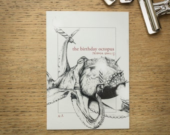 Octopus illustrated birthday card, A6 natural history-inspired card