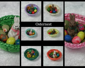 Easter with bunny and eggs decorated, Dollhouse miniatures, easterest in 1:12 for the doll house in miniature