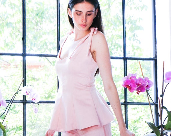 PEPLUM TOP with double-bow