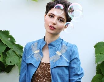 Embroidered dragonfly jacket