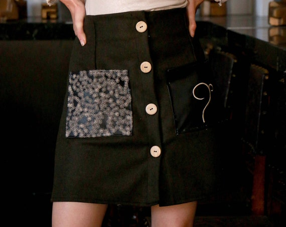 Embroidered pocket skirt