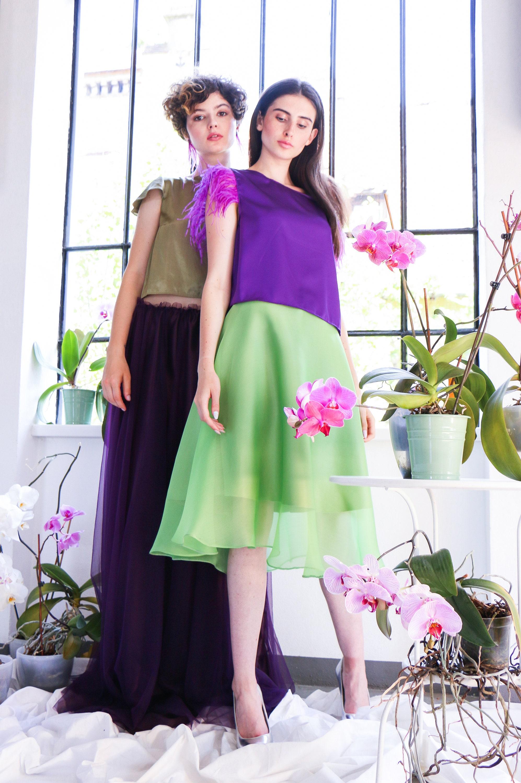 Silk Organza Midi Skirt Petal Olive