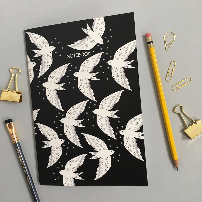 A5 Bird Print Notebook  Birthday gift  Mother/'s day gift