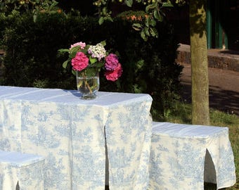 Toile de Jouy Blue/White Table and Bench Slip Covers 50cm