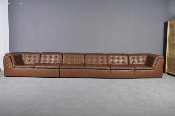 Cognac Leather De Sede Style Patchwork Modular Sofa From Laauser Germany 1970s