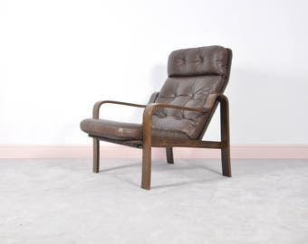 Mid Century Rosewood Leather Armchair Bentwood,Norway,1960S