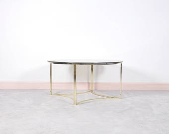 Mid Century Brass & Glass Coffee Table