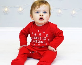 First Christmas - First Christmas Baby Outfit - Personalised First Christmas  - Personalised Christmas Sleepsuit - Snowflake Sleepsuit 9e901c59a050