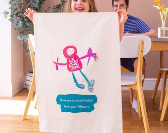 Personalised Tea Towel - Children's Drawing Gift - Gift from Kids - Kids Drawing - Personalized Tea Towel - Kitchen Gifts - New Home Gift