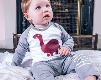 Personalised sleepysaurus your name print kids baby pyjamas dinosaur girls boys