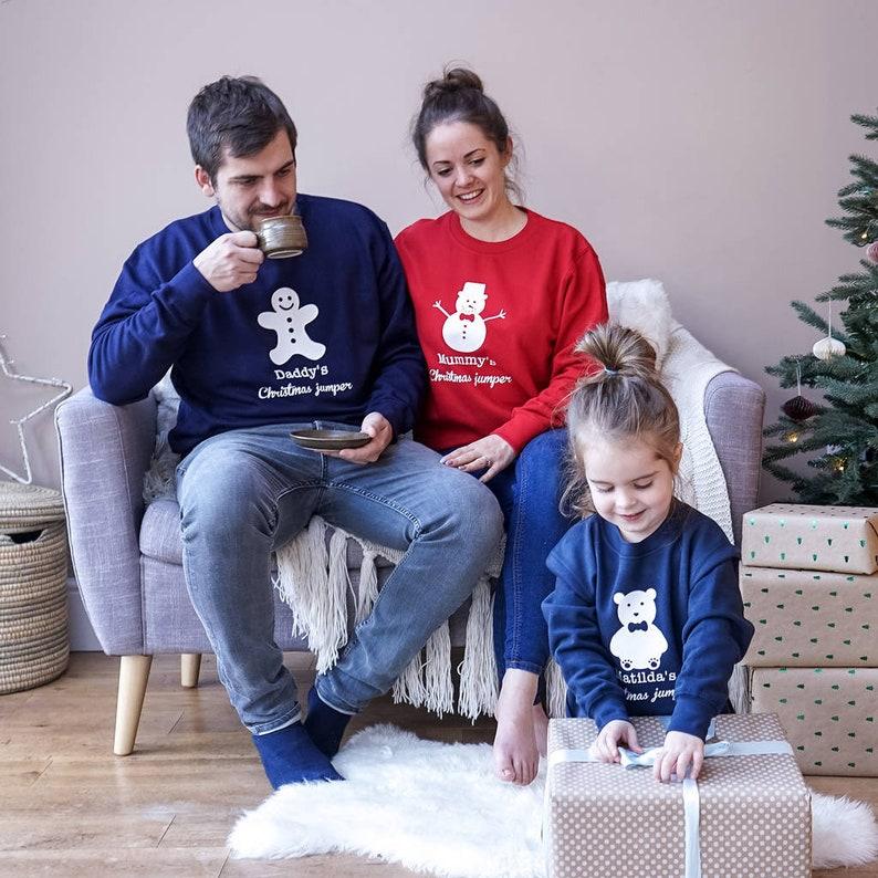 Pyjamas pour famille bonhomme de neige - Créatrice ETSY : SparksAndDaughters