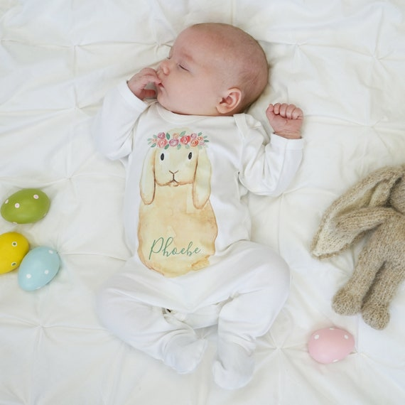 PERSONALISED Baby Bunny Rabbit Grow SLEEPSUIT  Boy Girl ANY Initials Added New