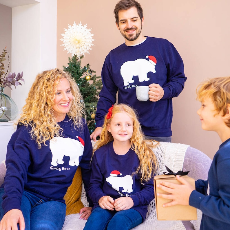 Pulls de Noël famille ours - Créatrice ETSY : SparksAndDaughters