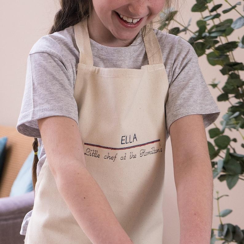Kids Cotton Apron Personalised Childrens Apron Childrens Apron Personalised Kids Apron Embroidered Childrens Apron Little Chef Apron