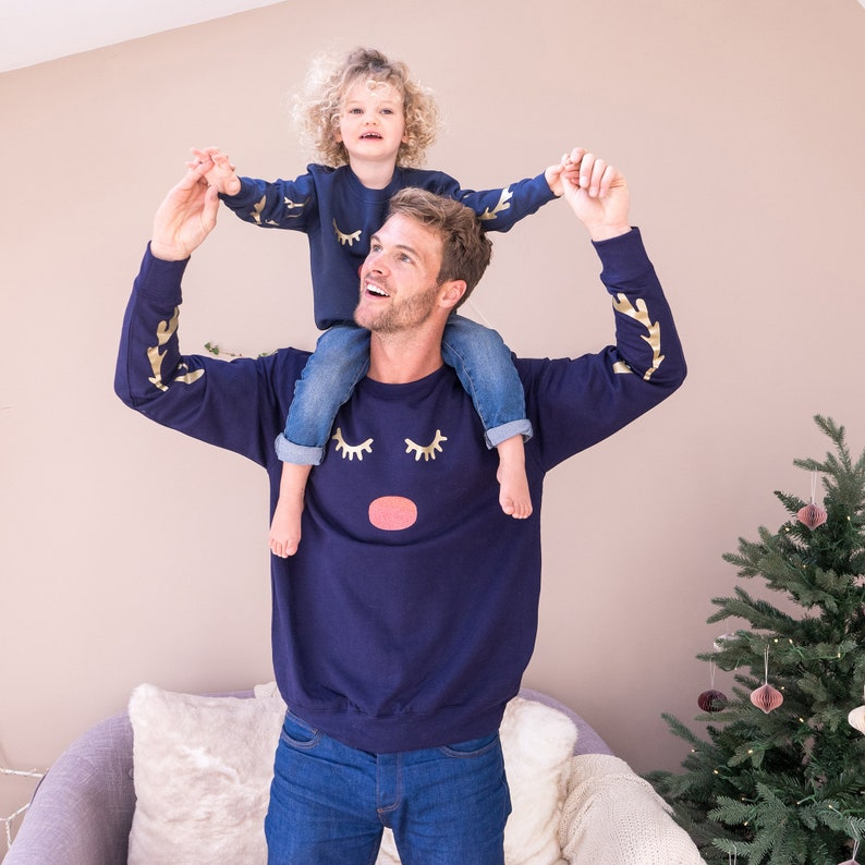 Pyjamas assortis bleu marine - Créatrice ETSY : SparksAndDaughters