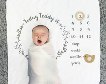 New Baby Blanket - Baby Age Blanket - New Baby Gift - Botanical Print Baby Blanket