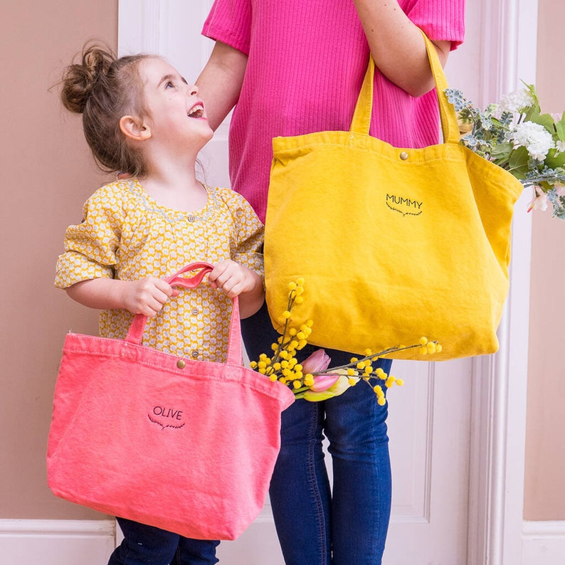 Mum and Child Matching Gifts for Mum Personalized Tote Bags Matching Bags Personalised Shopper Bags Cotton Tote Bags Canvas Bags