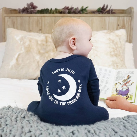 Unisex Personalised Baby Vests Bodysuits I Love You To The Moon and Back
