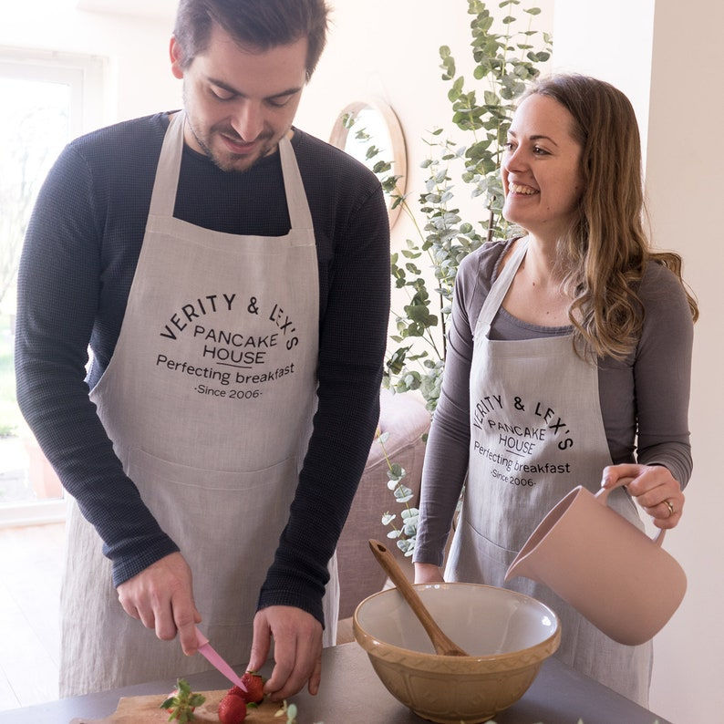 Couples Linen Apron Set Personalized With Text and Names Suitable for Couples Who Love Cooking