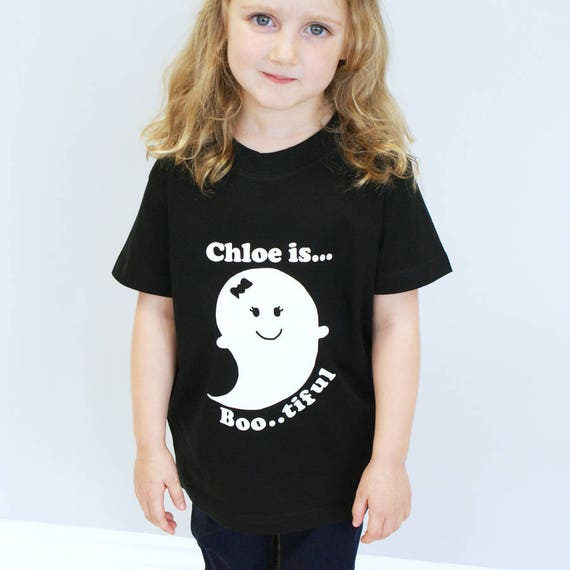 PERSONALISED GIRLS HALLOWEEN GHOST CHILDRENS T-SHIRT KIDS TSHIRT TOP GIFT