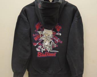 Vintage Mischievous Blue Rabbit Sweatshirt Hoodies Street Wear Cartoon Size L