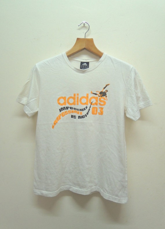 Vintage Adidas Impossible Is Nothing T Shirt Sport Street Wear Swag Hip Hop Top Tee Size S
