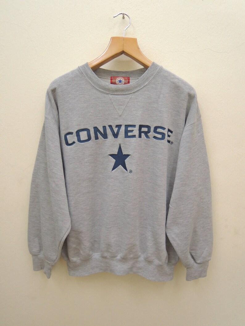 c67b37d490f15 Vintage Converse Big Spell Out Logo All Star Chuck Taylor Sweatshirt Sport  Street Wear Swag Skate Size LL